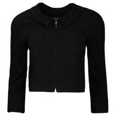 Chanel Vintage Black Wool Cropped Jacket w/ Zipper sz FR34