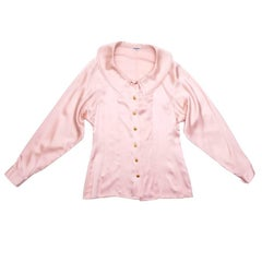 CHANEL Vintage Blouse in Pale Pink Silk Size 36EU
