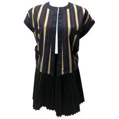 Chanel Vintage Blue Cream Red Striped Vest