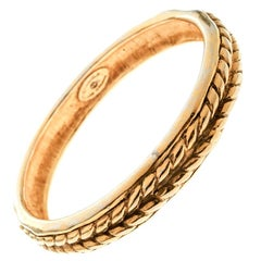 Chanel Vintage Braided Texture Gold Plated Bangle Bracelet