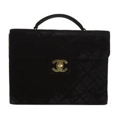 Chanel Vintage Briefcase Quilted Velvet Large