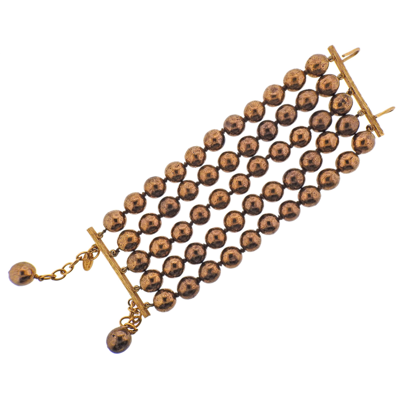 Chanel Vintage Bronze Bead Bracelet