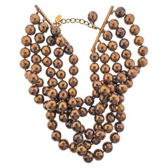 Chanel Vintage Bronze Bead Choker Necklace