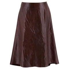 Chanel Vintage Brown Calfskin Leather Midi Skirt - Size US 6