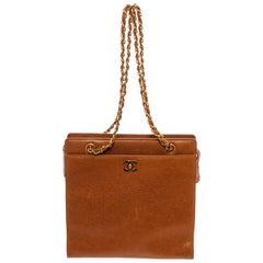 Chanel Vintage Brown Caviar Leather CC Shoulder Bag