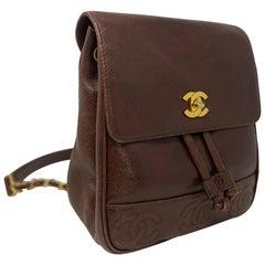Chanel Vintage Brown Drawstring Backpack