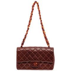 Chanel Vintage Brown Lambskin Leather Tortoise Medium Flap Bag