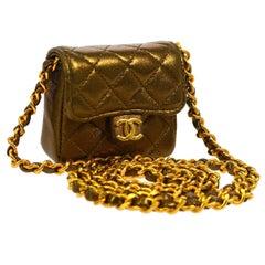 Chanel Vintage Brown Metallic Leather Micro Mini Shoulder Flap Bag in Box
