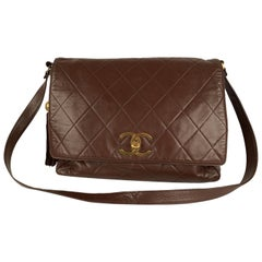 Chanel Vintage Brown Quilted Leather Large Messenger Bag