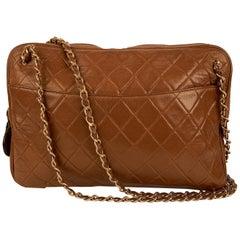 Chanel Vintage Brown Quilted Leather Shoulder Bag