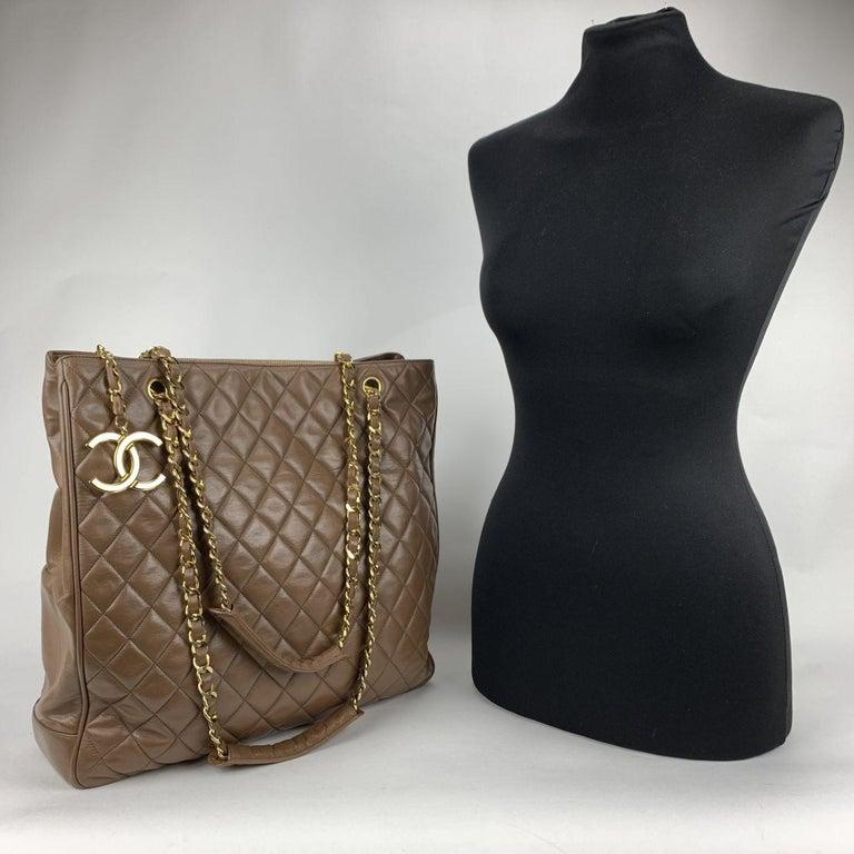 Black Chanel Vintage Brown Quilted Leather Tote Shoulder Shopping Bag