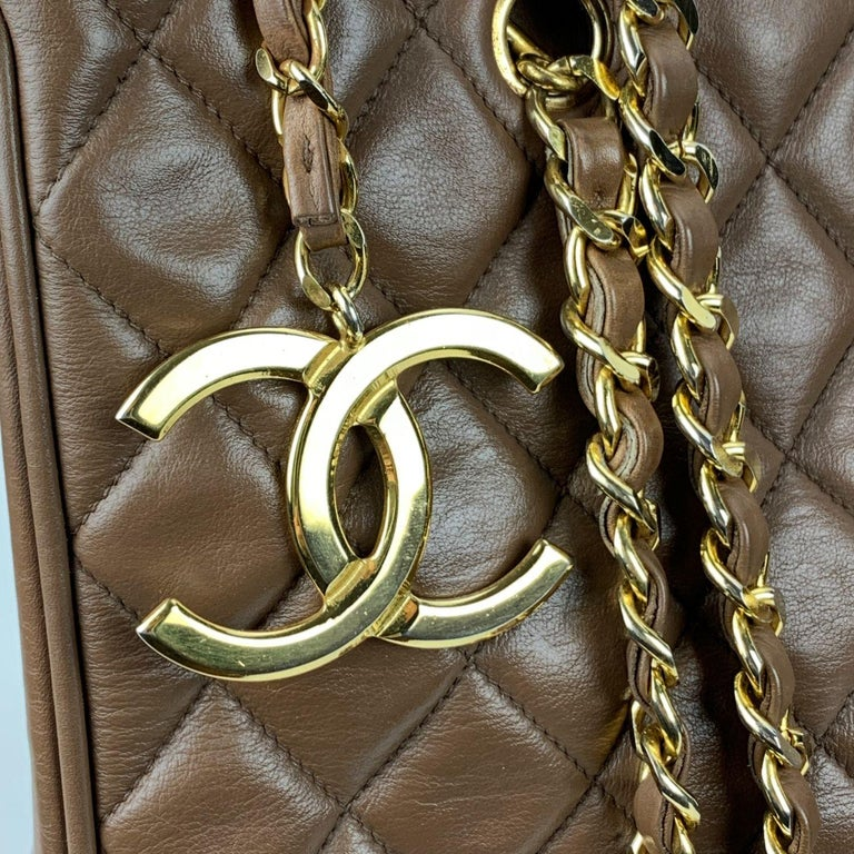 Chanel Vintage Brown Quilted Leather Tote Shoulder Shopping Bag In Excellent Condition In Rome, Rome
