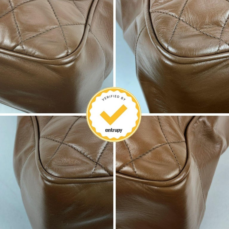 Chanel Vintage Brown Quilted Leather Tote Shoulder Shopping Bag 1