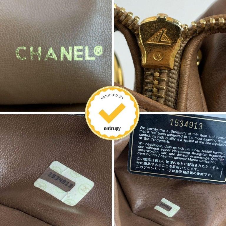 Chanel Vintage Brown Quilted Leather Tote Shoulder Shopping Bag 2