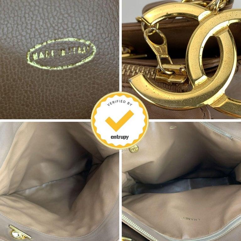 Chanel Vintage Brown Quilted Leather Tote Shoulder Shopping Bag 3