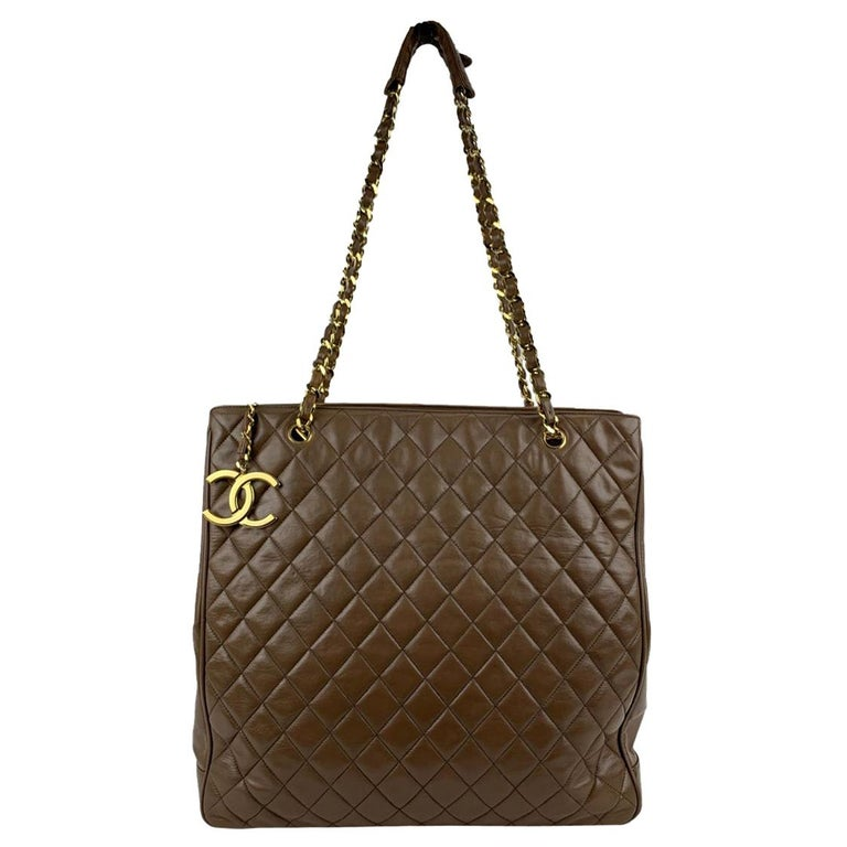 Chanel Vintage Brown Quilted Leather Tote Shoulder Shopping Bag