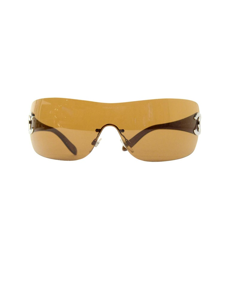 a2b7627a5ee7 Women's Chanel Vintage Brown Rimless Aviator/Shield Style CC Sunglasses W/  Box, Case