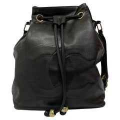 Chanel Vintage Bucket Bag in Black Leather with Golden Hardware