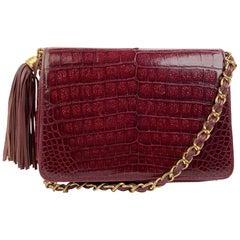 Chanel Vintage Burgundy Leather Tassel Shoulder Bag
