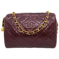 Chanel Vintage Burgundy Quilted Caviar Leather Camera Bag with Gold Hardware