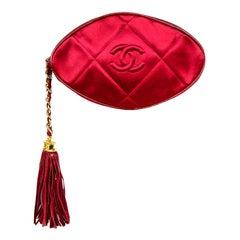 Chanel Vintage Burgundy Satin Quilted CC Clutch Bag w. Tassel