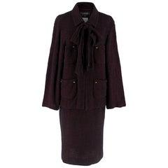 Chanel Vintage Burgundy Tweed Suit SIZE S