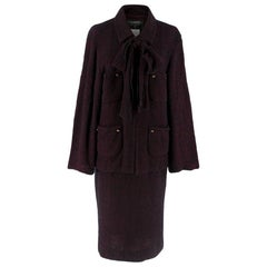 Chanel Vintage Burgundy Tweed Suit - Size US 4