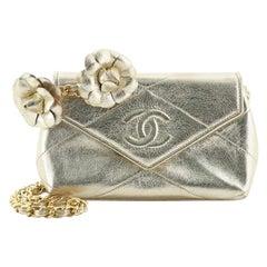 Chanel Vintage Camellia Diamond CC Flap Crossbody Bag Quilted Lambskin Mini