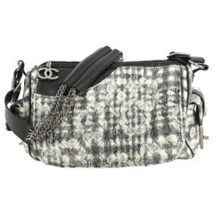 Chanel Vintage Camellia Flap Camera Bag Quilted Tweed Large