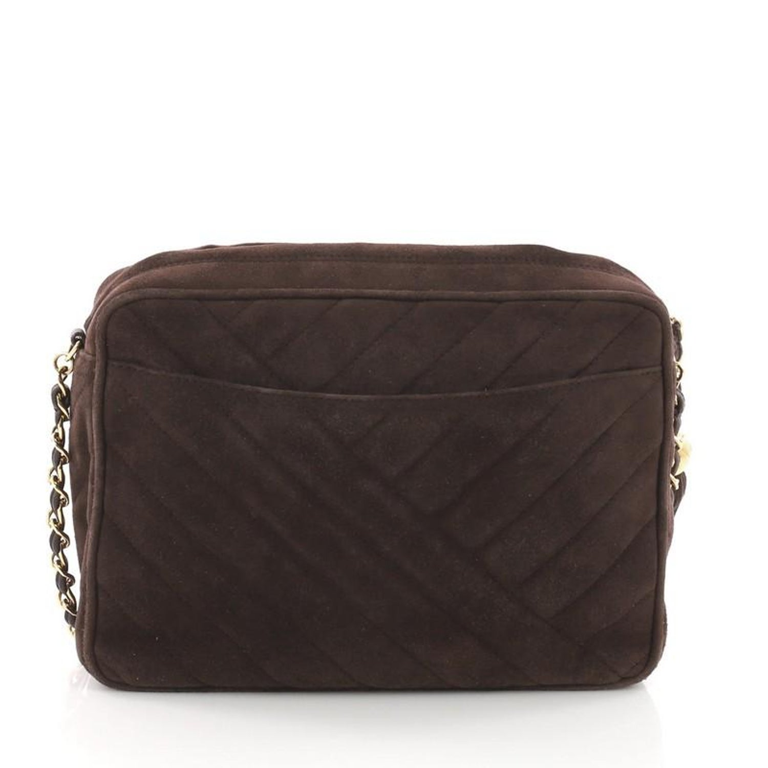 4b9605b05159 Chanel Vintage Camera Bag Chevron Suede Small For Sale at 1stdibs