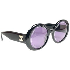 Chanel Vintage Camera Lens Black Sunglasses Made In Italy, Spring / Summer 1993