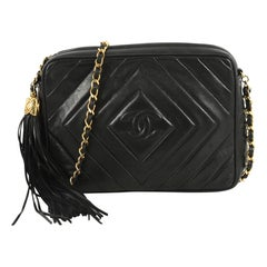 Chanel Vintage Camera Tassel Bag Chevron Lambskin Small