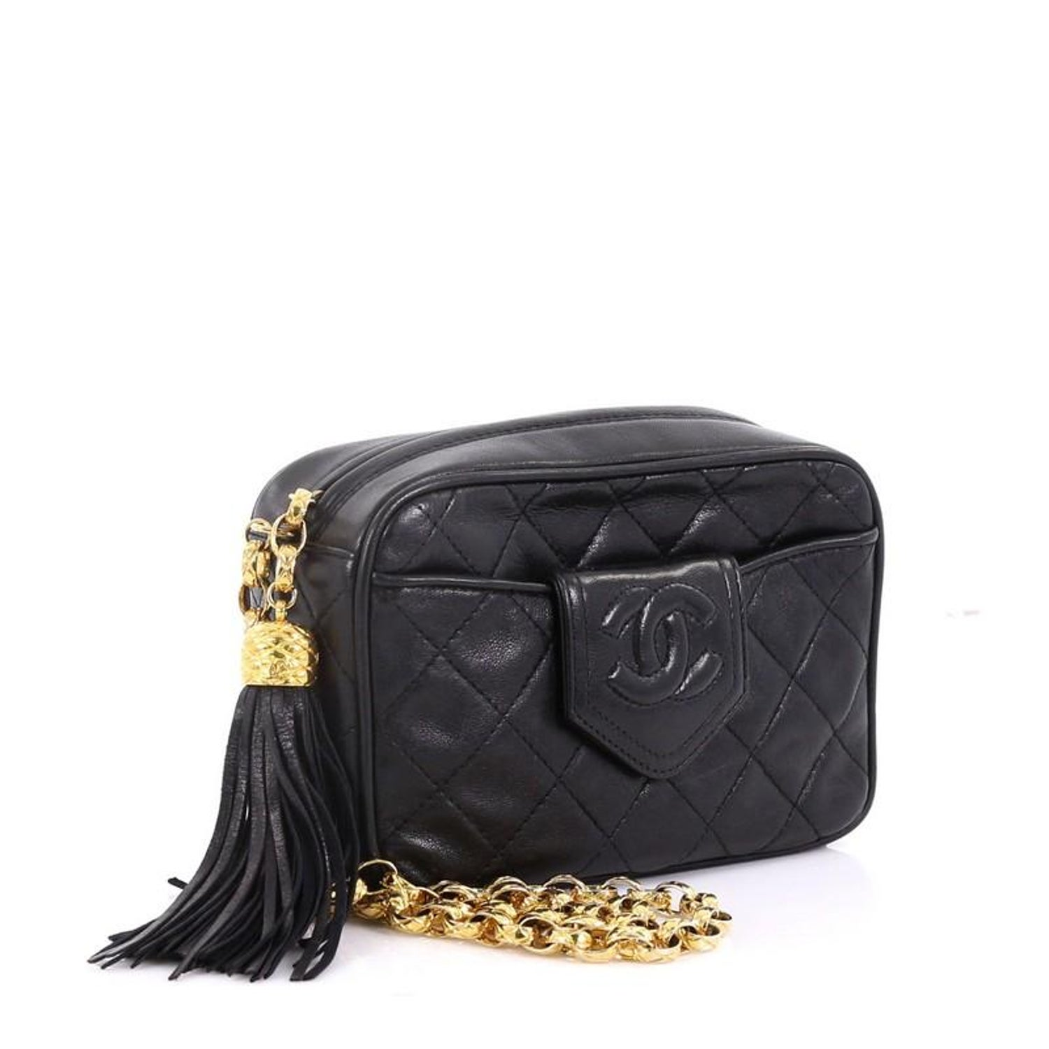 0f722fff2ff6 Chanel Vintage Camera Tassel Bag Quilted Leather Mini at 1stdibs