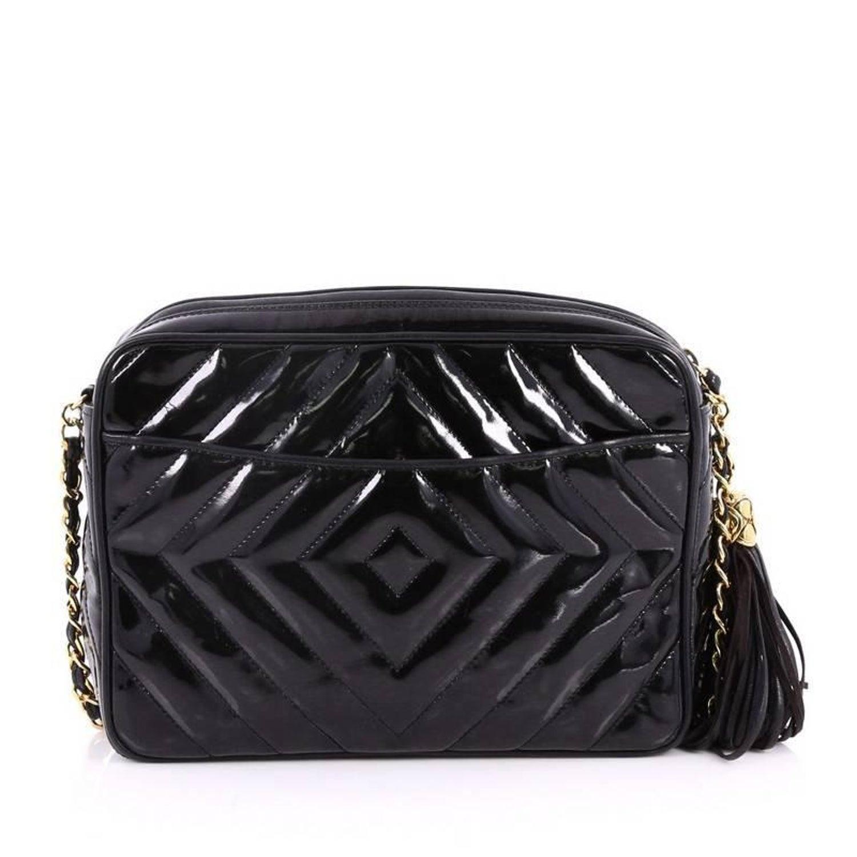 46926546d79e Chanel Vintage Camera Tassel Bag Quilted Patent Medium at 1stdibs
