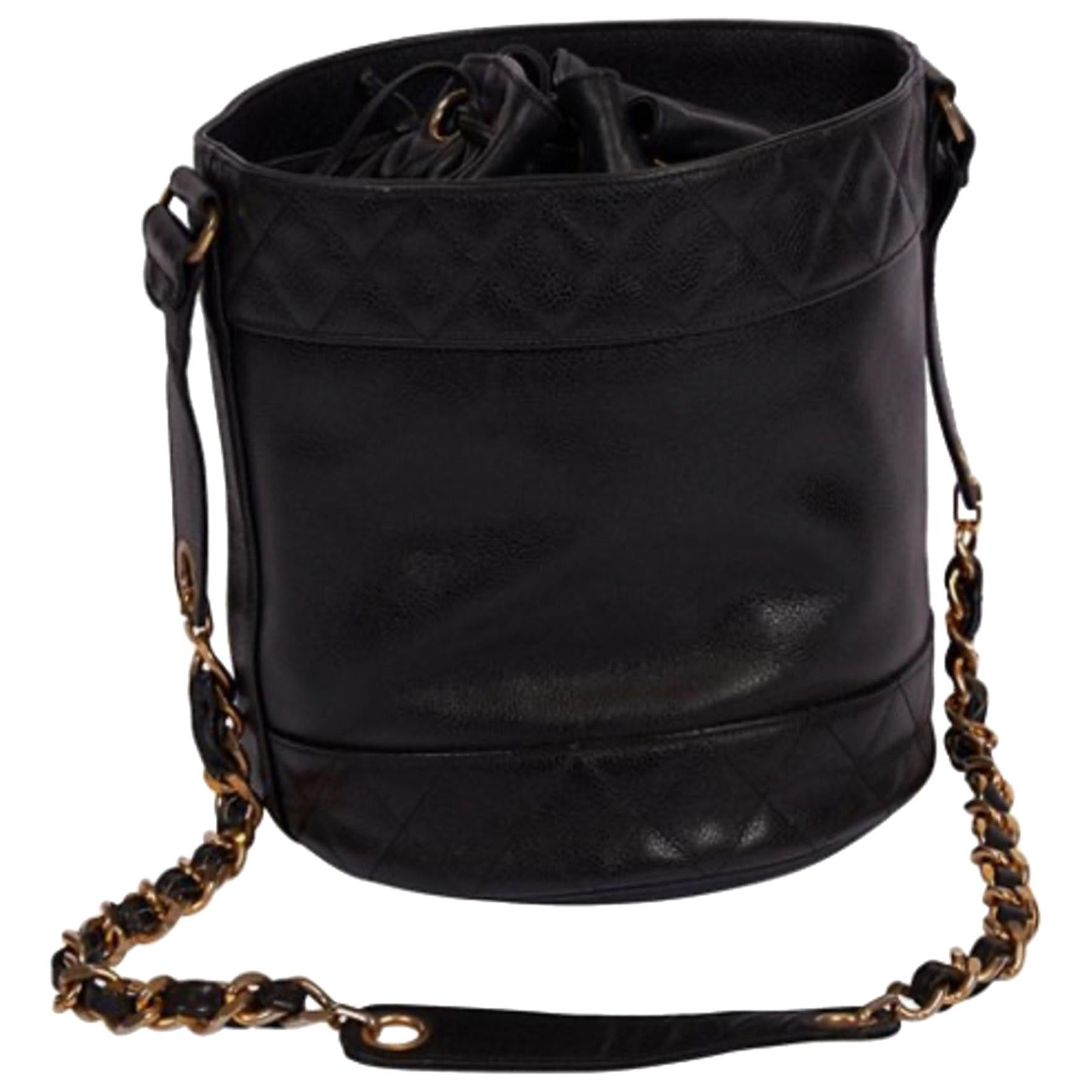 Chanel Vintage Caviar Drawstring CC Bucket Crossbody Bag