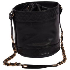 Chanel Vintage Caviar Drawstring CC Bucket Crossbody Bag