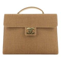 Chanel Vintage CC Briefcase Raffia Large