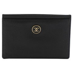 Chanel Vintage CC Button Card Holder Leather