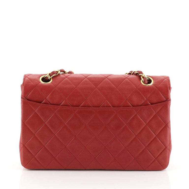 Red Chanel Vintage CC Chain Flap Bag Quilted Lambskin Small