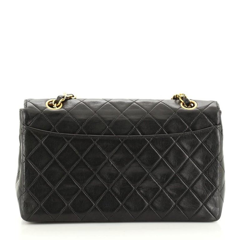 Black Chanel Vintage CC Chain Flap Bag Quilted Lambskin Small For Sale