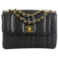 Chanel Vintage CC Chain Flap Bag Vertical Quilt Caviar Small