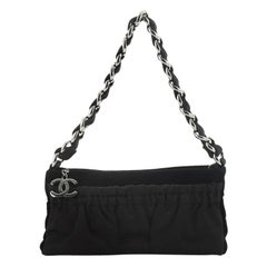 Chanel Vintage CC Chain Pochette Pleated Satin with Velvet Small