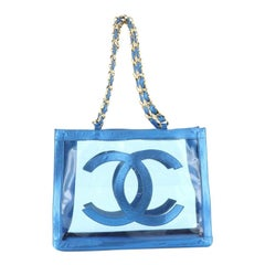 Chanel Vintage CC Chain Tote PVC and Leather Large
