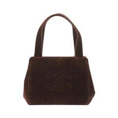 Chanel Vintage CC Clasp Shoulder Bag Velvet Small