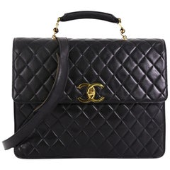 Chanel Vintage CC Convertible Briefcase Quilted Lambskin Large