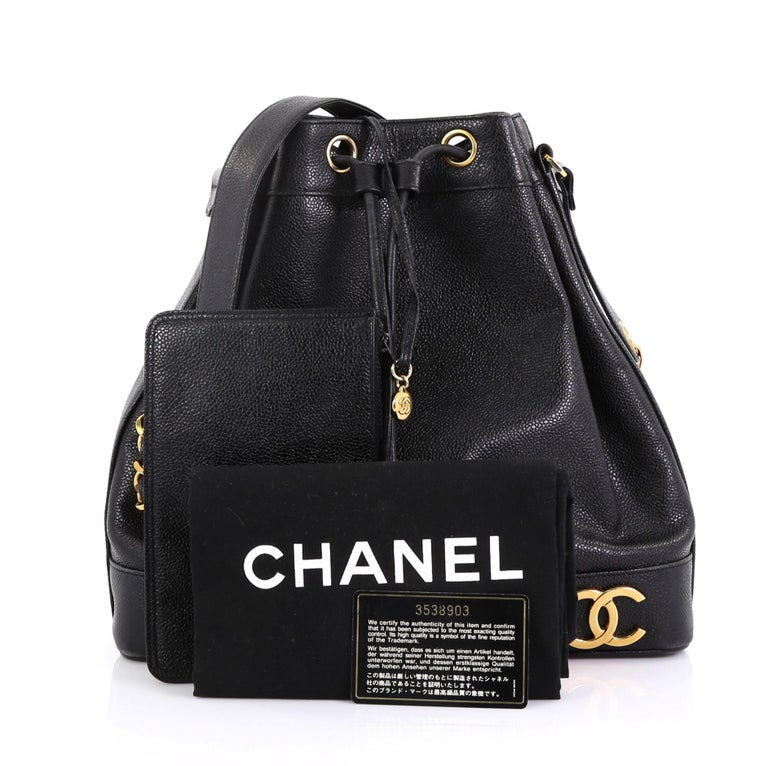 Chanel Vintage Cc Drawstring Bucket Bag Caviar Medium For