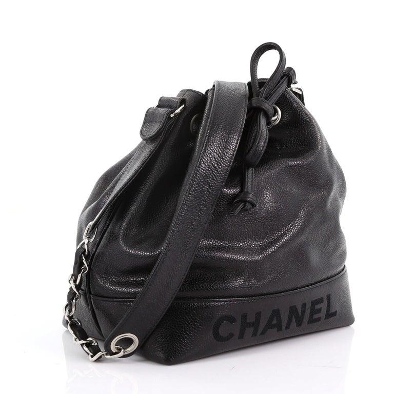 Black Chanel Vintage CC Drawstring Bucket Bag Caviar Small For Sale bc05c2b34a