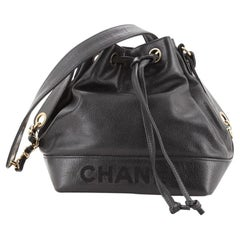 Chanel Vintage CC Drawstring Bucket Bag Caviar Small