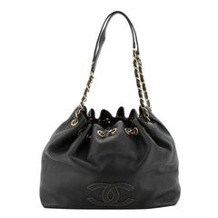 Chanel Vintage CC Drawstring Chain Shoulder Bag Leather Small