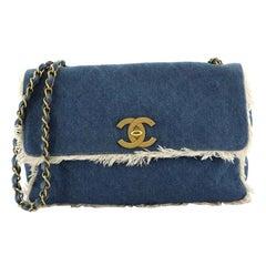 Chanel Vintage CC Flap Bag Fringe Quilted Denim Jumbo